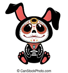 Day of the Dead (Dia de los Muertos) style bunny