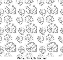 Sea shell seamless pattern