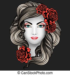 Girl with roses tattoo concept