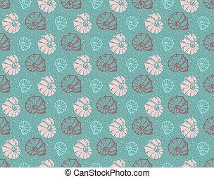 Sea shell seamless pattern