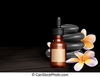 Realistic essential oil bottle, frangipani flowers and zen...