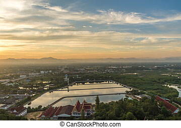View of Downtown Prachuap Khiri Khan District from Thailand....