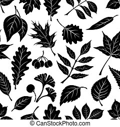 Leaves of Plants Pictogram, Seamless - Seamless Nature...