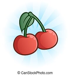Cherries Cartoon Illustration - An illustration of red...