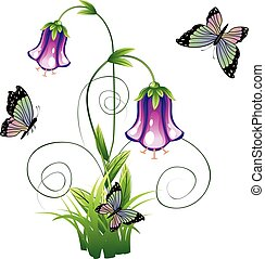 Bluebell Flower with Leaves - Cartoon bluebell flower with...