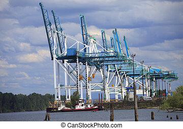 Port of Portland cranes. - Cranes along the Columbia river...