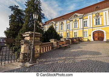 park near ancient monastery - park with lantern and benches...