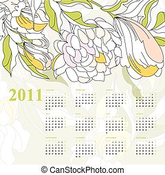 calendar with flowers for 2011 - Decorative calendar with...