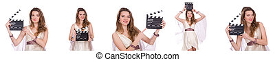 Ancient goddess with clapperboard  isolated on white