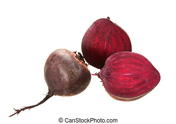 Full and two cross of beet-root. Isolated on white...