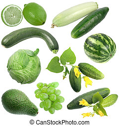 Set of green fruits and vegetables