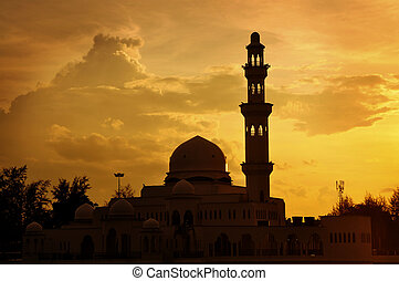 Silhouette of a mosque - Masjid Tengku Tengah Zaharah or...