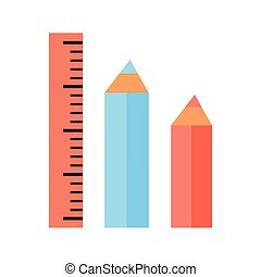 Ruler and Two Pencils Icons Isolated on White - Ruler and...