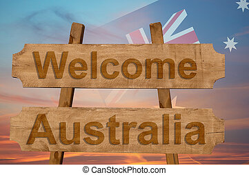 Welcome to Australia sing on wood background with blending...