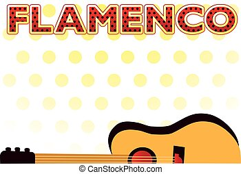 Flamenco party invitation postcard, vector illustration