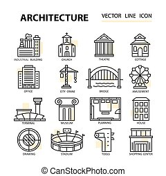Set of modern linear icons with architecture elements.