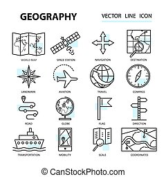 Set of modern linear icons with geography elements Vector...