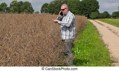 Farmer talking on the phone and check plants