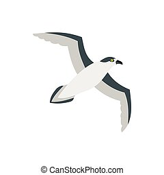 Sea gull icon in flat style - icon in flat style on a white...