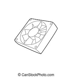 Computer case cooling fan icon, outline style
