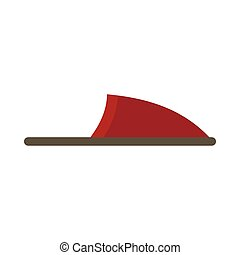Red slipper icon in flat style - icon in flat style on a...