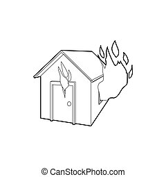 House on fire icon, outline style - icon in outline style on...