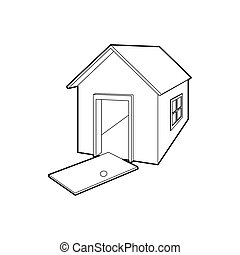 House destroyed icon, outline style - icon in outline style...