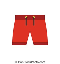 Red shorts for swimming icon icon, flat style - icon in flat...