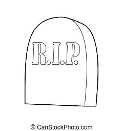 Tombstone with RIP icon, outline style - icon in outline...