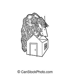 House destroyed by hurricane icon, outline style - icon in...