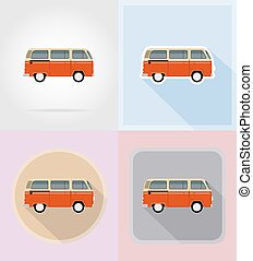 retro minivan flat icons vector illustration isolated on...