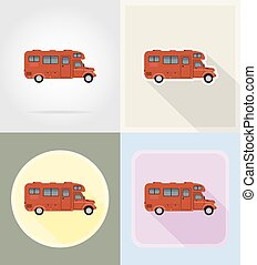 car van caravan camper mobile home flat icons vector...