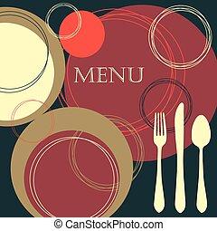 restaurante, menú, diseño
