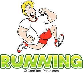 running man - vector illustration of a running man on white...