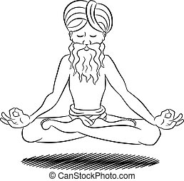 floating meditating yogi - vector illustration of a floating...