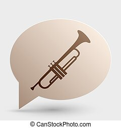 Musical instrument Trumpet sign. Brown gradient icon on...