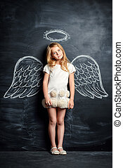 girl with wings - Pretty little angel girl Cute child girl...