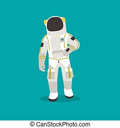 Vector illustration of astronaut in outer space. Man in spacesuit and helmet flat style design