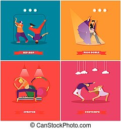 People dancing in different styles. Breakdance, paso doble, contemporary dance. Vector illustration in flat design