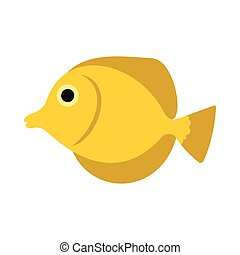 Fish butterfly icon, flat style - Fish butterfly icon in...