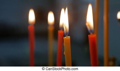 candles dark in the russian church indoors orthodox of service sacrament slow motion video