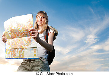 young woman with map and backpack - beautiful young woman...