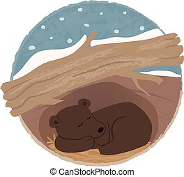 Bear Hibernating - Clip art of a bear sleeping in his den....