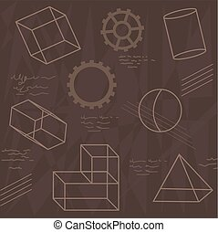 Shapes - Pattern of geometrical shapes and gears. Eps10