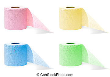 rolls of toilet paper - four colorful rolls of toilet paper...