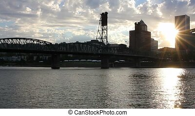 Sunset in downtown Portland Oregon - High definition movie...