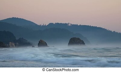 Crashing waves along Oregon coast - High definition movie of...