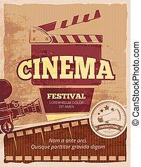 Cinema, movie festival vector vintage poster - Cinema, movie...