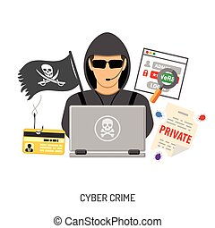 Cyber Crime Concept with Hacker - Cyber Crime Concept for...