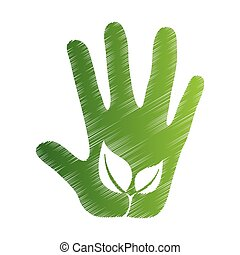 plant ecology hand open icon vector - hand ecology sketch...